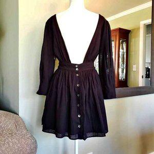 NWT Free People Black Linen Minidress
